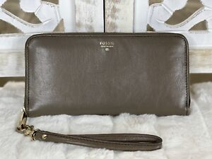 FOSSIL Women's SYDNEY Large TAUPE Leather Zip Around Clutch Wallet