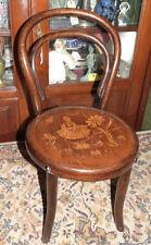 Antiguo finales del XIX Bentwood silla de niño, chica holandesa escena para el asiento