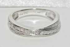 9ct White Gold 0.10ct Diamond Ladies Crossover Eternity Ring - size K