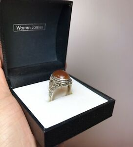 Antique Chinese Sterling Silver Export Ring With Carnelian Stone