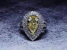 5.15 Ct. Fancy Yellow Pear Cut Split Shank Double Halo Micro Pave Diamond Ring