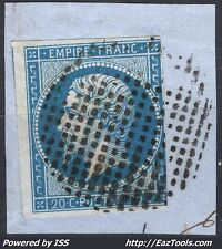 FRANCE EMPIRE 20c BLEU TYPE I N°14A CACHET CERCLE DE POINTS SUR FRAGMENT