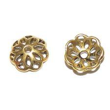 M596p Antiqued Gold 12mm Open Flower Round Zinc Alloy Metal Bead Caps 24pc