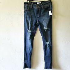Almost Famous Women's Size 7 Denim Jeans Distressed Frayed Stretch Raw Hem Nwt