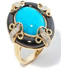 """HERITAGE GEMS IMPERIAL TURQUOISE AND ONYX VERMEIL """"ART DECO"""" RING SIZE 5 HSN"""