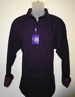 Tallia Long Sleeve Shirt w/ Flip Cuffs * Navy Blue & Burgundy Size XL 17.5   NWT