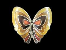 Vintage Cloisonne Butterfly Brooch Pin ~ Earth Tones Brown Gold Enamel