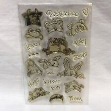 Stampendous Peek A Boo Baby Clear Stamp Set SSC070 Farm Animals Frog Cow Pig Cat