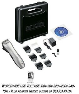Andis Rechargeable DUAL VOLTAGE Cordless Clipper KIT-Scissors,Guide Combs,CASE