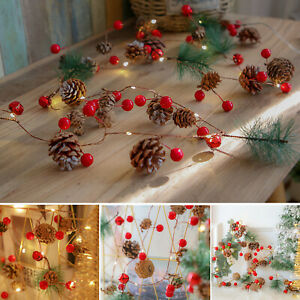 Christmas LED Pine Cone Berries String Fairy Lights Xmas Tree Garland with Lamps