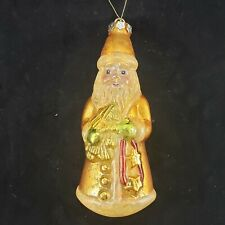 "Antique Santa Gold & Opaque Colored Mercury Glass 8"" Christmas Tree Ornament"