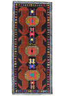 Vintage Tribal Oriental Sarab Runner, 4'x9', Blue, Hand-Knotted Wool Pile