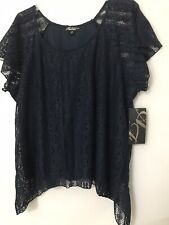 Nwt Woman Absolutely Famous Lined Navy Lace Top Size 3X - Very Pretty