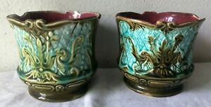 Coppia Antichi vasi in ceramica- cachepot - barbotine