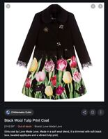 Designer LOVE MADE LOVE tulip coat with diamanté bees RRP £140 age 8-9