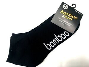 Mens Bamboo Sport Sports Ankle Socks Cushion Foot size 6-11 Black