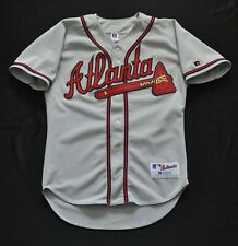 ATLANTA BRAVES JERSEY SPELL OUT CURSIVE BLANK GRAY ROAD RUSSELL MEN SEWN 44 L