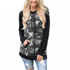 Plus Size Women Camo Zip Up Hoodies Ladies Sweatshirt Fleece Jackets Hooded Tops
