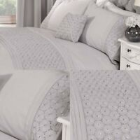Grey Duvet Embroidered Cover Set Luxury Cotton Bedding Sheets King