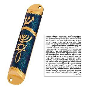"Blue Enamel Door Mezuzah Scroll Case Shedai Jewish Klaf 3"" Parchment 4""/10.5cm"