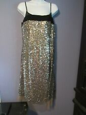 DKNY nwt sz 12 sparkling sequined over sheer coffee black sexy cocktail dress