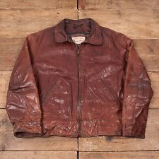 "Mens Vintage Diesel Blanket Lined Leather Bomber Jacket Brown L 44"" R5078"