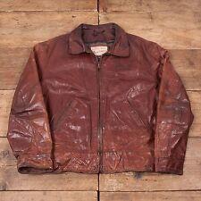 """Mens Vintage Diesel Blanket Lined Leather Bomber Jacket Brown L 44"""" R5078"""