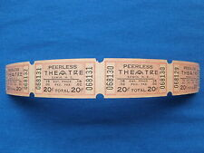 Vintage 20 Cent Peerless Theatre Tickets (Strip of 4) Drive-In Movie/Cinema - NC