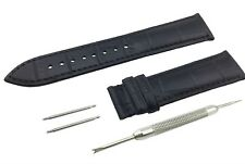 Black Genuine Leather Strap/Band fit Frederique Constant Watch Clasp 18 20 22mm