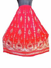 Red Bohemian Hippy Bollywood Indian Long BELLY Dance Skirt Vintage Tribe Peasant