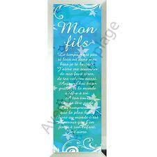 """Miroir message """"Mon Fils"""" à poser/accrocher verre idée cadeau neuf"""