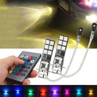 2x H3 5050 RGB 12SMD LED Auto Car Headlight Fog Bulb Lamp Light Remote Control H