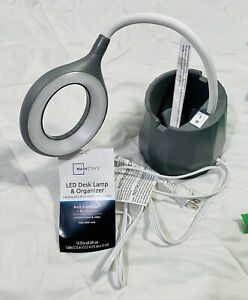LED Desk Lamp and Organizer with USB Charging Port (Gray) NWT