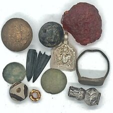 Medieval Byzantine & Post Middle Ages Artifact Lot Ring Bead Coin Arrow Pendant