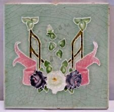 VINTAGE PORCELAIN TILE FLOWER GEOMETRIC DESIGN ENGLAND ART NOUVEAU MAJOLICA #219