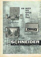 F- Publicité Advertising 1961 Televiseur Recepteur radio Electrophone Schneider