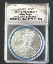 2016-W 30th ANNIVERARY BURNISHED SILVER EAGLE ANACS SP70!!!