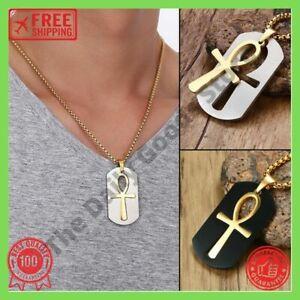 Herren Ägyptische Amulett Ankh Kreuz Edelstahl Halskette Antike Pharao