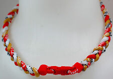 "New! 20"" Custom Clasp Braided Sports Gold Red White Tornado Necklace Twisted"