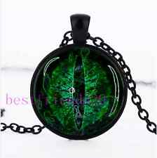 Green Dragon Eye Photo Cabochon Glass Black Chain Pendant Necklace