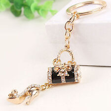 Black Handbag High-heel Shoe Bag Butterfly Pendant Crystal Key Ring Chain Hot