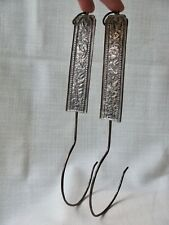Pair of Antique Peranakan / Straits Chinese Repoussed Curtain Hooks from Penang