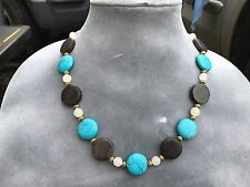 HDMD by Cyndi Necklace of Red Marble, Blue Magnesite & White Italian Onyx Beads