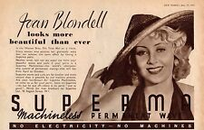 Original magazine advert(1937)JOAN BLONDELL promotes SUPERMA/3 Men On A Horse
