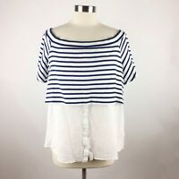 Postmark Anthropologie Large Navy White Striped Off The Shoulder Layered Top
