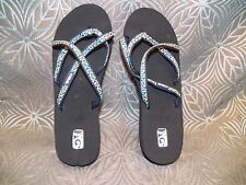 6706be60b4312 New Womens Teva Mush Mandalyn Wedge Ola 2 Mosaic Blue Strappy Sandals Flip  Flops