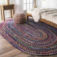 Handmade Rug Oriental Vintage Cotton Reversible Rug 8x11 Feet Oval Shaped Carpet