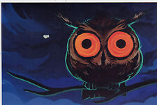 RARE The crasy wise owl with big foolish eyes Russian modern postcard
