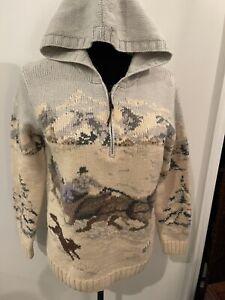 Ralph Lauren Hand Knit P Petite 100% Lambswool Sweater Hood Horse Dog Winter VTG
