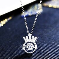 18K White Gold / Rose Gold Filled Sparkling Lab Diamond Exquisite Crown Necklace